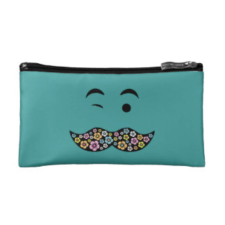 Winking Funky Floral Hippy Mustache Cosmetic Bag