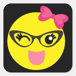 Winking Girly Emoji Square Sticker