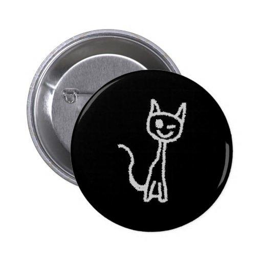 Winking Gray Cat. Pinback Button