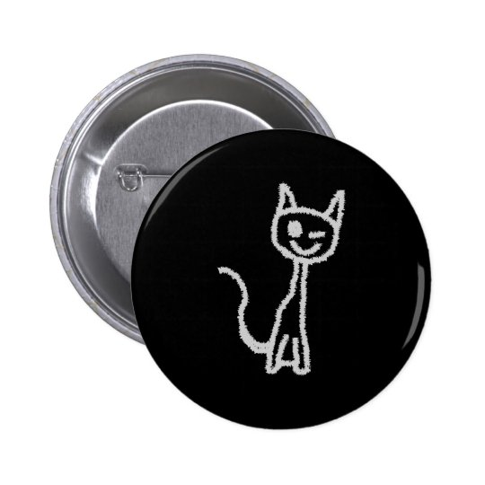 Winking Gray Cat. Pinback Button