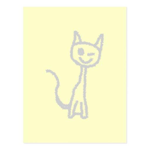 Winking Gray Cat. Postcard