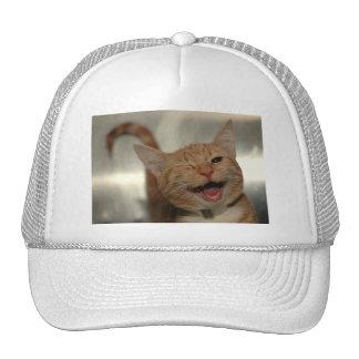 Winking Happy Ginger Cat Trucker Hat