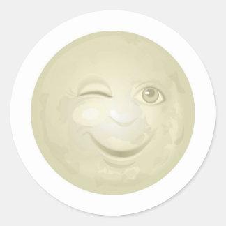 Winking Honeymoon Face Classic Round Sticker