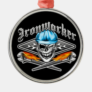 Winking Ironworker Skull and Spud Wrenches 7 Blue Metal Ornament