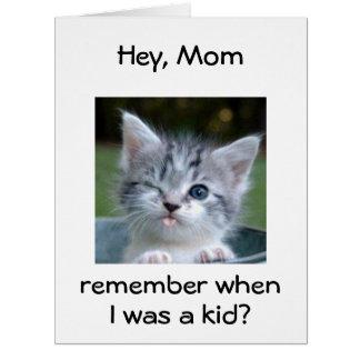 WINKING KITTEN for *MOM*=BEST BIRTHDAY EVER Card