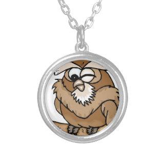 WINKING OWL CARTOON ROUND PENDANT NECKLACE