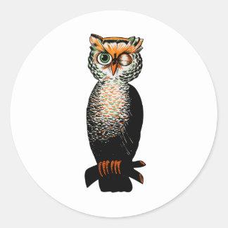 Winking Owl Classic Round Sticker