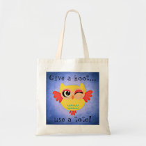 Winking Owl Cute Give a Hoot Tote Bag