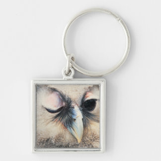Winking Owl Silver-Colored Square Keychain