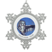 Winking owl snowflake pewter christmas ornament