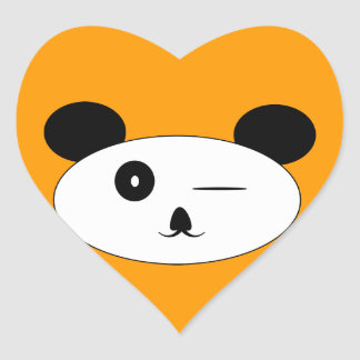 Winking panda heart  heart sticker