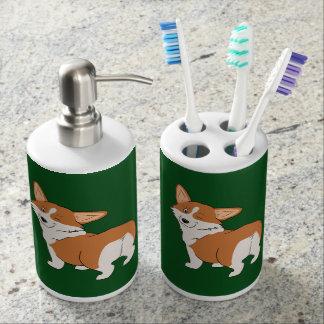 Winking Pembroke Corgi Soap Dispenser & Toothbrush Holder