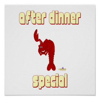 Winking Red Lobster After Dinner Special Poster