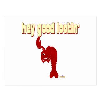Winking Red Lobster Hey Good Lookin' Postcard