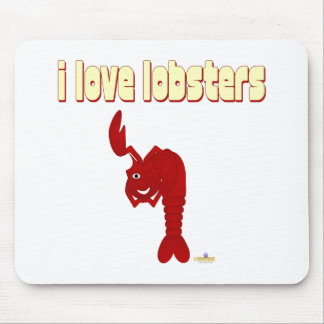 Winking Red Lobster I Love Lobsters Mouse Pad