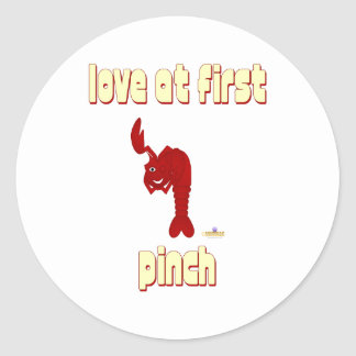 Winking Red Lobster Love At First Pinch Classic Round Sticker