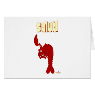 Winking Red Lobster Salut Card