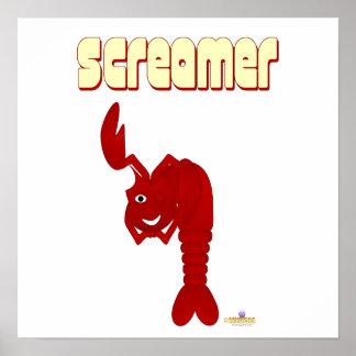 Winking Red Lobster Screamer Poster