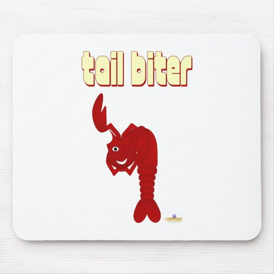 Winking Red Lobster Tail Biter Mouse Pad