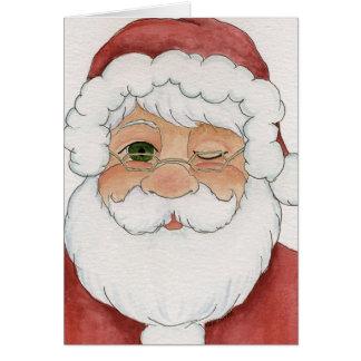 Winking Santa Card