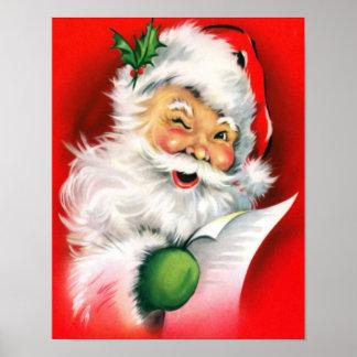 Winking Santa Christmas List Poster