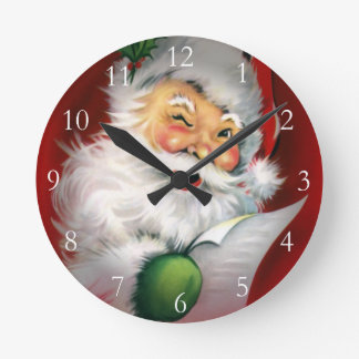 Winking Santa Christmas List Round Clock
