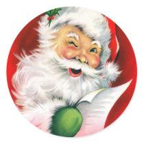 Winking Santa Classic Round Sticker