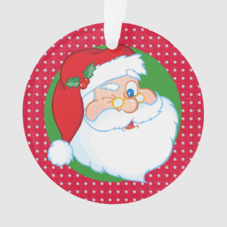Winking Santa Claus Personalized Ornament