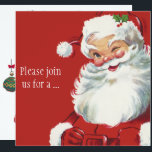 "Winking Santa Claus, Vintage Christmas Invitation<br><div class=""desc"">Ho,  ho,  ho,  Merry Christmas! Vintage illustration Christmas holiday design featuring a jolly,  happy Santa Claus winking as if he has a secret. He is wearing a hat with holly leaves.</div>"