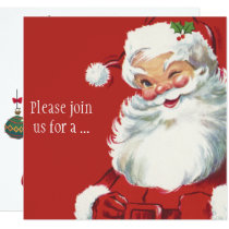 Winking Santa Claus, Vintage Christmas Invitation