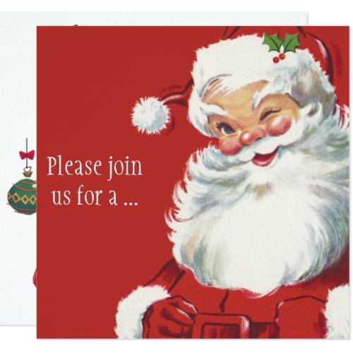 Winking Santa Claus Vintage Christmas Invitation