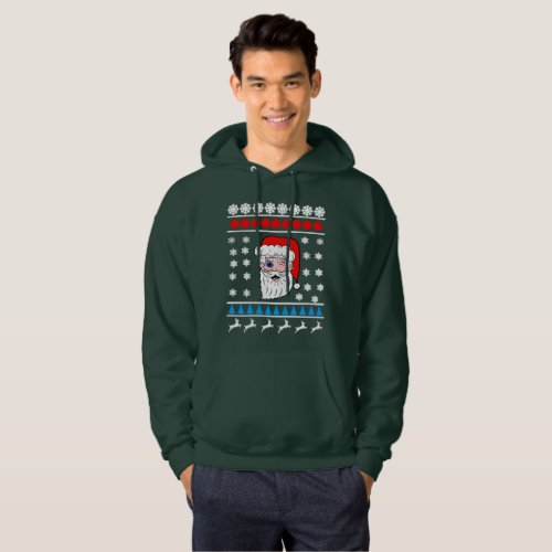 Winking Santa Head Ugly Christmas Hoodie After Christmas Sales 3363