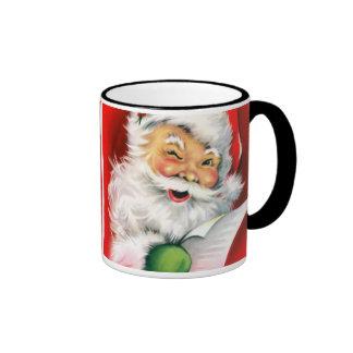 Winking Santa Ringer Coffee Mug