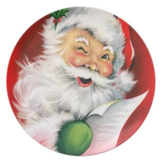 Winking Santa Dinner Plates