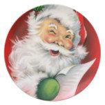 Winking Santa Plates