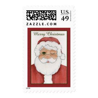Winking Santa Postage Stamp
