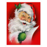 Winking Santa Poster