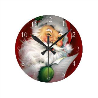 Winking Santa Round Clock
