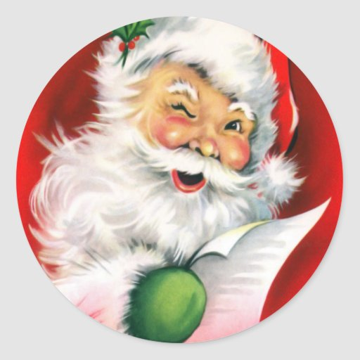 Winking Santa Sticker