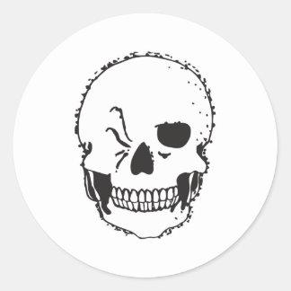 winking skull classic round sticker