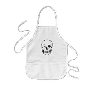 winking skull kids' apron
