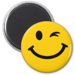 Winking smiley face 2 inch round magnet
