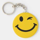 Winking smiley face basic round button keychain