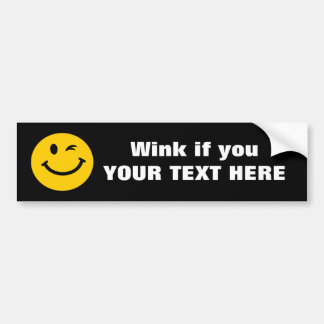 Winking smiley face bumper sticker
