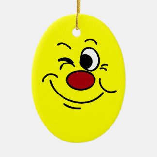 Winking Smiley Face Grumpey Ceramic Ornament
