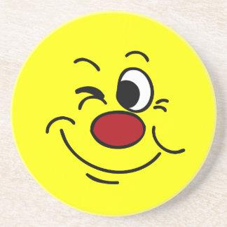 Winking Smiley Face Grumpey Beverage Coaster