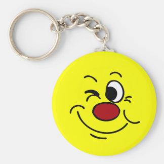 Winking Smiley Face Grumpey Keychain