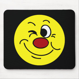 Winking Smiley Face Grumpey Mouse Pad