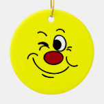 Winking Smiley Face Grumpey Christmas Tree Ornaments