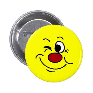 Winking Smiley Face Grumpey Pinback Button